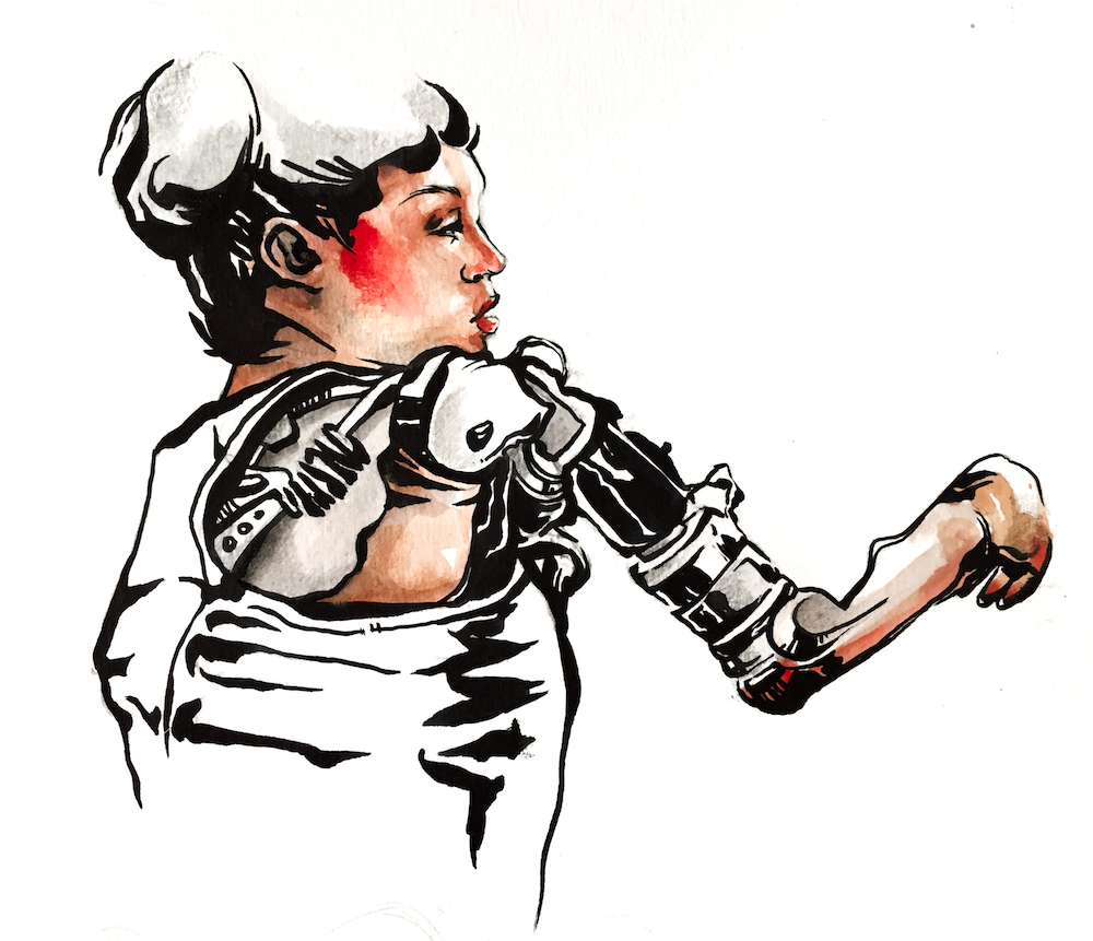 Sketch of woman with prosthetic arm